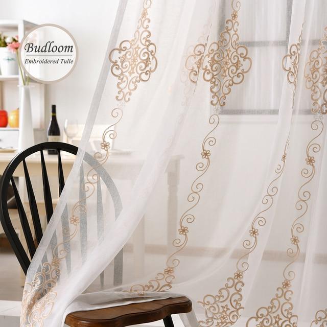 Tende Salone Bianco.Us 12 6 30 Di Sconto Moderno Jacquard Ricamato In Tulle Tende Per Il Salone Bianco Sheer Finestra Tende Per La Camera Da Letto In Moderno Jacquard