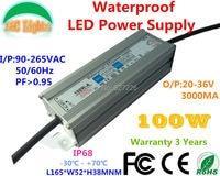 100W IP68 Waterproof LED Power Supply 3000MA 20V 36V LED Driver Adapter Flood Lights Tunnel Light