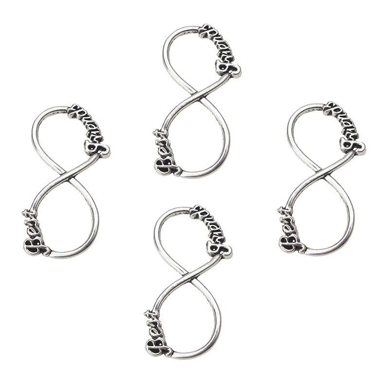 10 шт./лот 40*20 мм старинное серебро 8 слово подвески установки разъемов женщин DIY ожерелье аксессуары ювелирные кулон выводы ...
