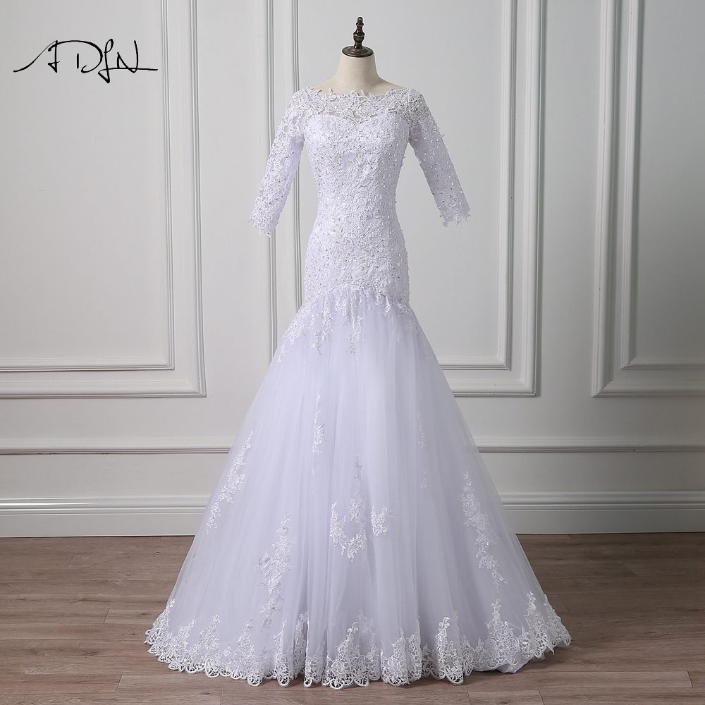 ADLN Boat Neck 3 4 Sleeve Lace Wedding Dresses Mermaid with Beads Custom Made Bridal Gown