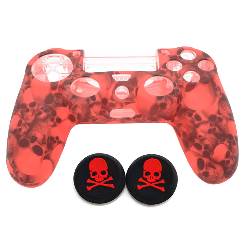 PS4 Skull Silicone Anti-Slip Protective Skin Case +2x Thumb Stick Grip Joystick caps for DualShock4 PS4 Slim PS4 Pro Controller