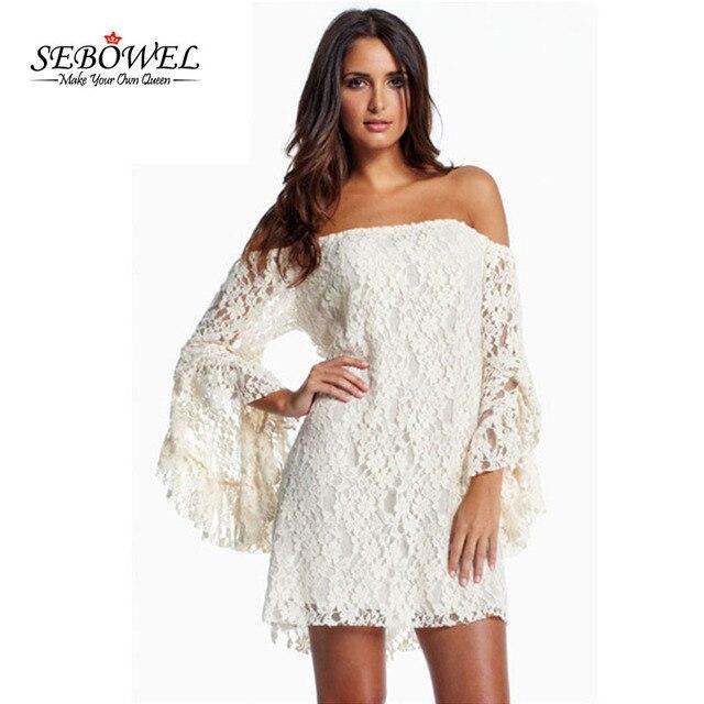 SEBOWEL Sexy Weiß/Schwarz Spitzenkleid Langarm Kleid Frauen ...