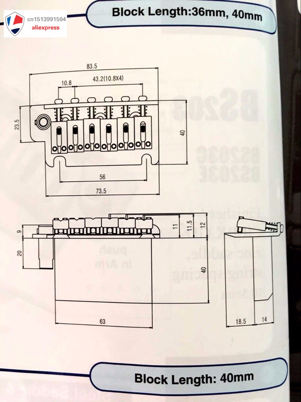 Nouveau pont de tréolo de guitare pour bloc en acier-Chrome BS184CR - 2