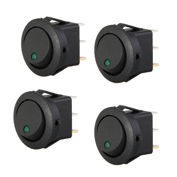 Edfy 4 Mini Round Green Led Rocker Indicator Switch 3 Pin On-off 12v Dc Careful Calculation And Strict Budgeting