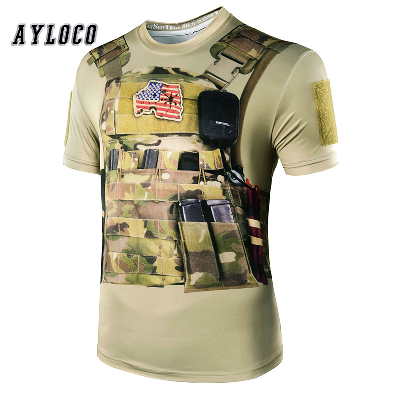 3DPrinting Tactical Gyms t shirt mens fitness t shirt Breathable Soft Army Casual military t shirt men fitness clothing