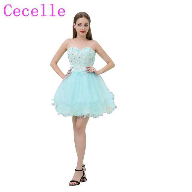 be0b39ecb46d Short Mint Tulle Cute Junior s Short Cocktail Dresses Sweetheart Beaded  Lace Teens Semi Formal Cocktail Party