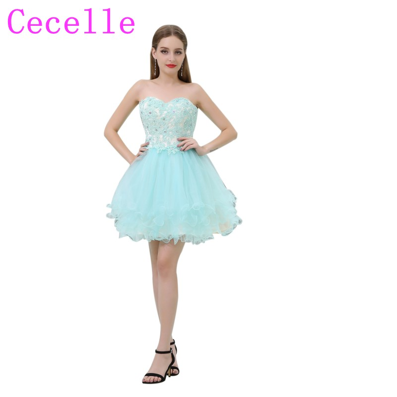 Short Mint Tulle Cute Junior's Short   Cocktail     Dresses   Sweetheart Beaded Lace Teens Semi Formal   Cocktail   Party   Dresses   2019 New