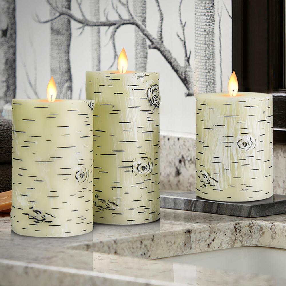 3pcs Flameless Candles Battery Operated Flickering LED Electric Tea Light Wedding Christmas White Birch Bark Decor