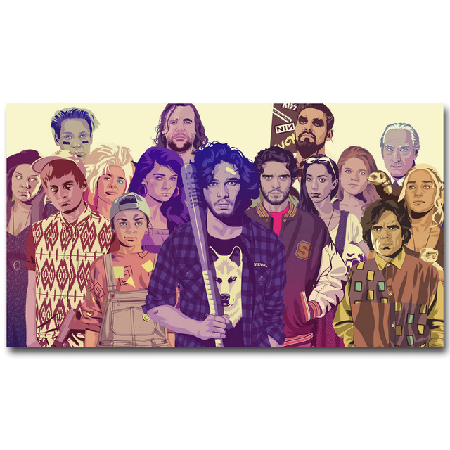 Game Of Thrones All Characters Art Silk Fabric Poster Print 13×24 20x36inch TV Series Jon Snow Picture for Wall Decor 32
