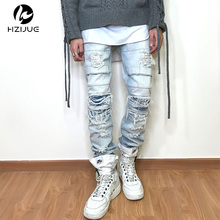HZIJUE 2017 Newest Fashion Tie-Dye Hole Destroyed Mens Slim Denim Straight Biker Skinny Jeans Men Ripped Jeans