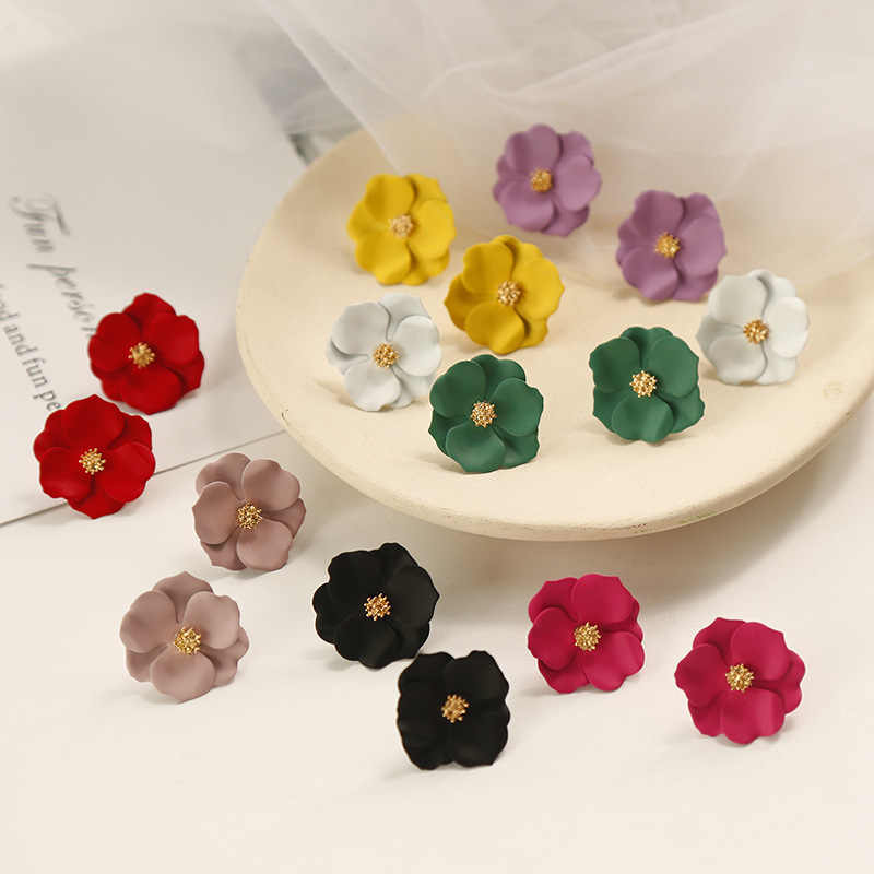 Shiny Side New Fashion Brand Jewelry Simple Flower Stud Earrings for Women Gift Elegant Earrings Accessories