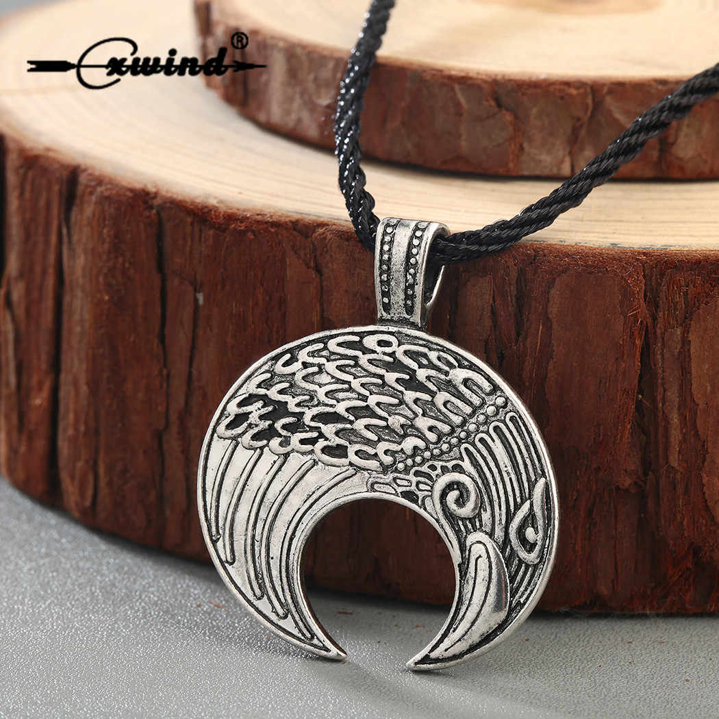 Cxwind Trendy Crescent Moon Norse Slavic Pagan Raven Necklace Retro Viking Lunula Pendant Necklace Amulet Bird Rope Jewelry