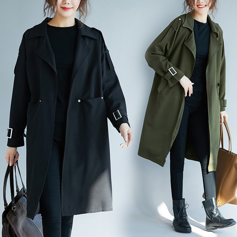 Cheap Autumn Spring 2019 Women's Coat Big Pockets   Trench   Female Large Size Black   Trench   Coats Mid-long Large-scale Windbreaker
