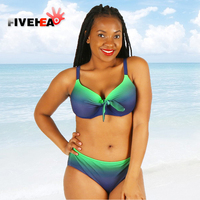 MAMAMIA Women Big Size Bikini Two Pieces Blue Green Gradient Color Knot Push Up Padded Bra