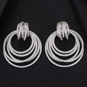 Image 4 - GODKI Luxury Twist Circle Dangle Earrings For Women Wedding Cubic Zircon Crystal CZ Dubai Bridal Earring Fashion Jewelry 2019