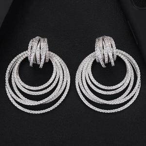 Image 4 - GODKI luxe torsion cercle Dangle boucles doreilles pour les femmes de mariage cubique Zircon cristal CZ Dubai mariée boucle doreille bijoux de mode 2019