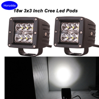 2pcs 18w Spot Led Work Lights 3x3 Dually Led Light Lamps IP68 Boat Light Off Road