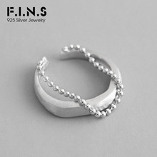 купить F.I.N.S Korean Fashion 100% S925 Sterling Silver Ring Personality INS Bead Chain Brushed Wedding Silver Ring 925 Fine Jewelry дешево