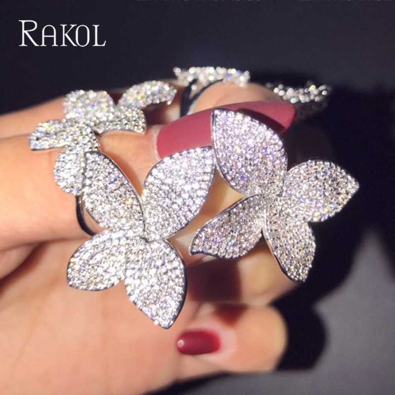 RAKOL Rose Gold Color Micro Paved CZ Stone Flowers Leaves Simple Fashion Stud Earrings For Women Top Quality Brand Earrings robira new brand set fashion stud earrings 18k rose gold color trendy balls earrings for women simple fine jewelry wholesale