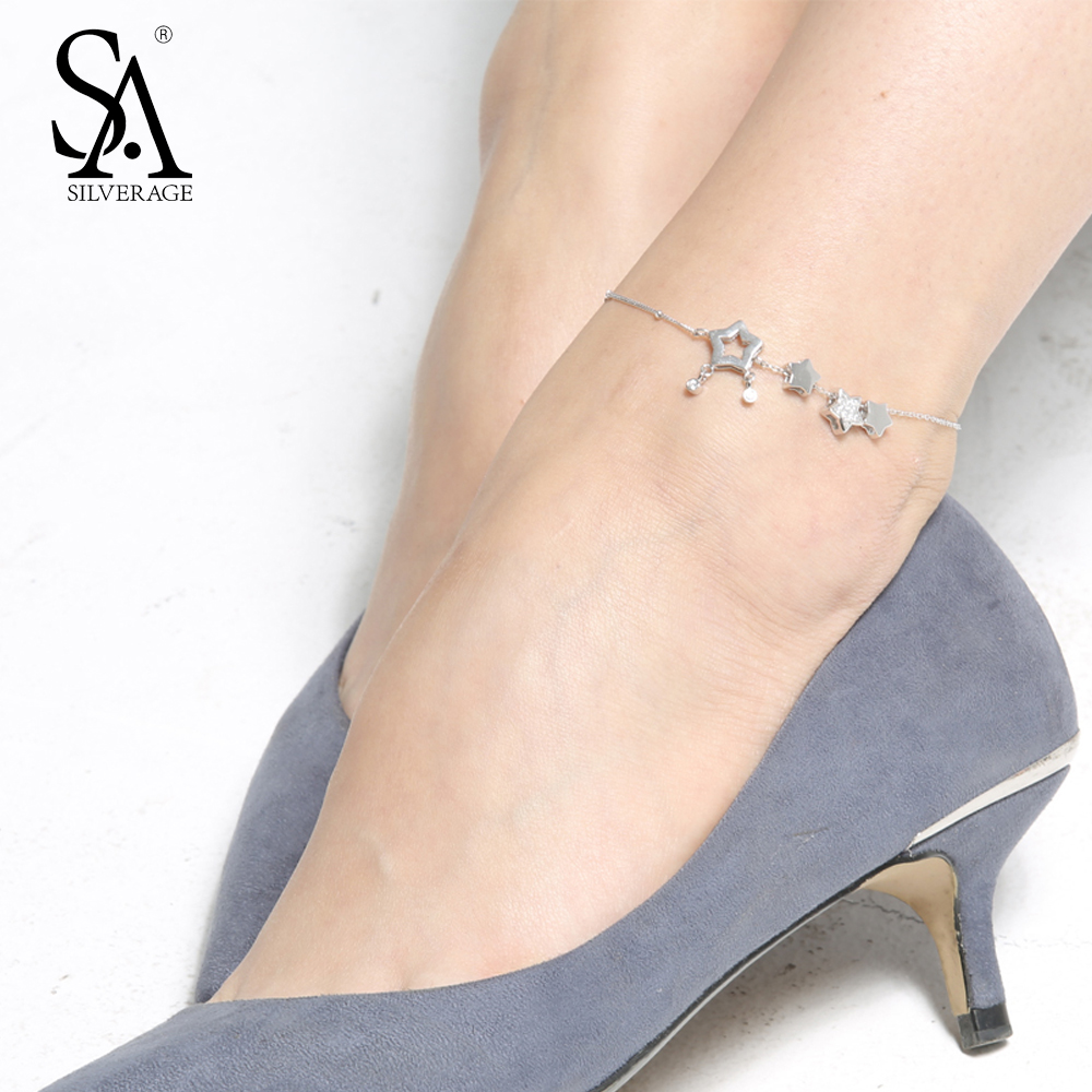 SA SILVERAGE Real 925 Sterling Silver Anklets for Women Fine Jewelry Star Charms Adjustable 2018 Hot Sale sa silverage 925 sterling silver anklets for women sexy anklets jewelry luxury pure silver 925 jewelry accessory girl gift