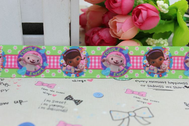 7/8 Free shipping Doc McStuffins printed grosgrain ribbon hairbow diy party decoration wholesale OEM 22mm P2398