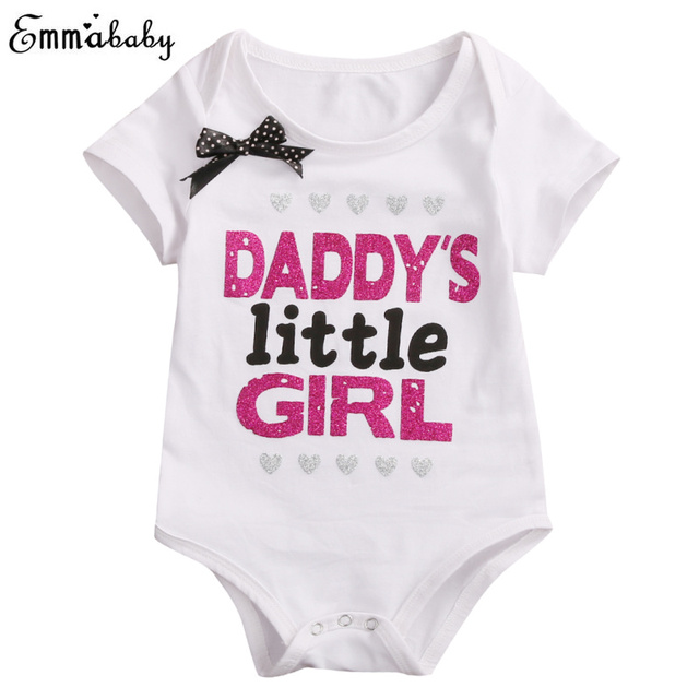 8c6ad2cb9bf2 Newborn Baby Daddy Mommy Girls Bodysuit Short Sleeve Jumpsuit Bow Clothes  Black White Outfit Sister Matching Clothing