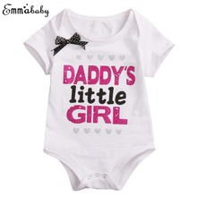 Newborn Baby Daddy Mommy Girls Bodysuit Short Sleeve Jumpsuit Bow Clothes Black