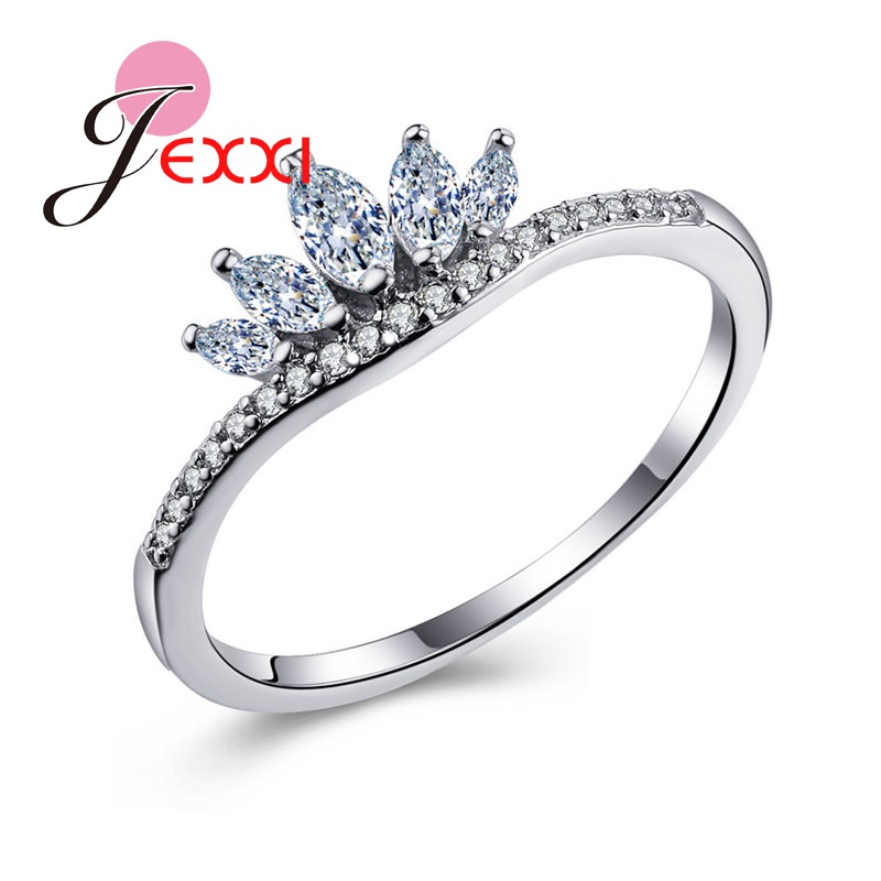 JEXXI Woman Favorite Sterling Silver Finger Accessories Jewelry Clear 5 Petal Crystal Lotus Flower Wedding Engagement Rings