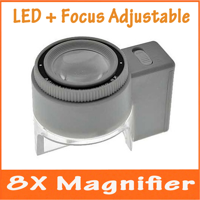 8x focus adjustable illuminated led jewelry design and repair magnifier drawing loupe stamp collection with lamp