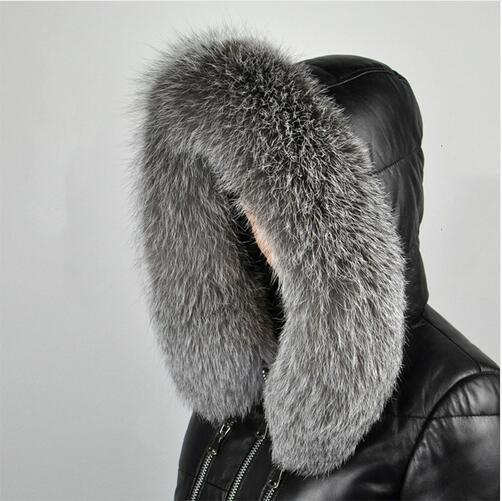 silver fox Winter Women's Real Fox Fur Collar  Fox Fur Cap Fur Collar 70/80cm Straight Collar Soft Fur Scarf Neck Warmer