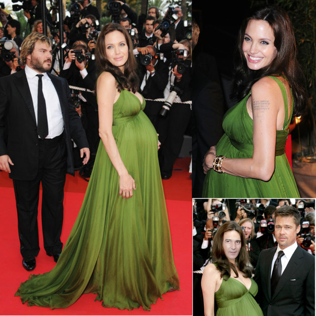 Long Green Gasa Angelina Jolie Red Carpet Celebrity Dress 2016