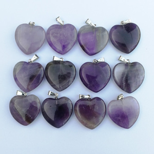 Image 3 - Fashion Good quality Purple crystal 20mm heart Natural stone pendants Charm Jewelry Love pendant for jewelry making 50Pcs/lot