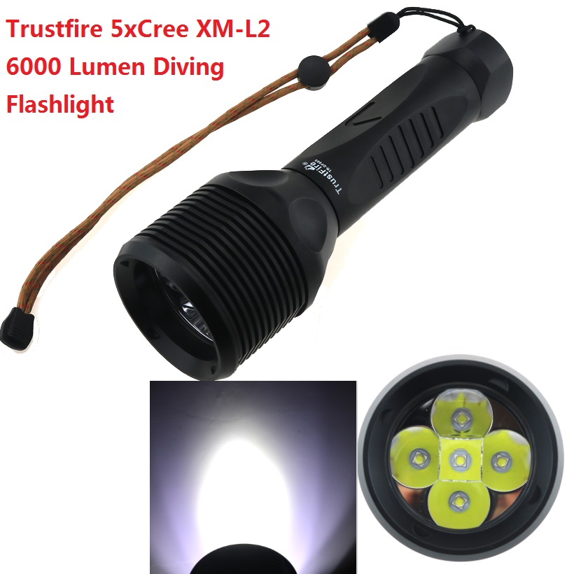 60W 6000 Lumen Underwater 100m Trustfire DF005 Diving Flashlight 5 x CREE L2 LED 3-mode wateproof Torch (2x26650 battery) trustfire underwater 100m cree xm l2 2000 lumen led 26650 battery dimming diving flashlight torch battery charger holster