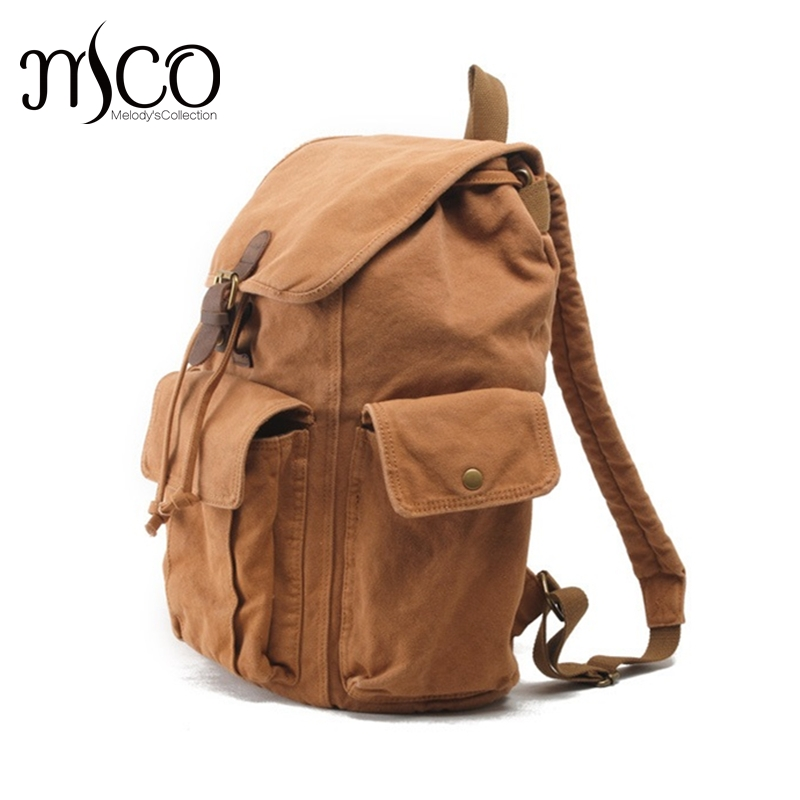 ФОТО Vintage Design Backpack Fashion Canvas Men Backpacks College Style School Bags Casual Travel Bag Draussen outdoors Rucksack 2016