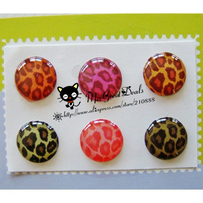 6 Pieces Leopard Patterns Home Button Sticker Compatible with Apple iPhone 4S for iphone 5