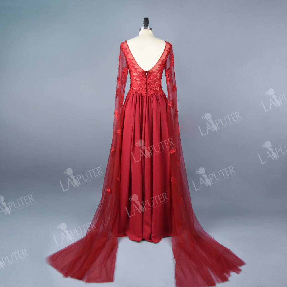 Real Photo Chiffon A line Sheer Neck Dubai Kaftan Red Evening Dress Long  Sleeve Saree Prom Dresses Floor Length Long Party Dress-in Evening Dresses  from ... a0e50631aa00