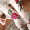 Renda bordada pérola pernas meias finas Mulheres transparente bordado Ladypersonality collants meia-calça