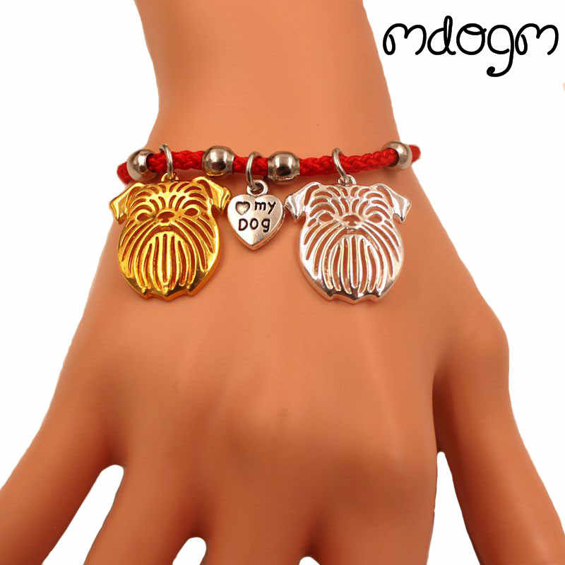Brussels Griffon Dog Animal Charm Bracelet For Women Men Couple Love Rope Male Female Pearl Red Heart Black Girls Cute Fashion