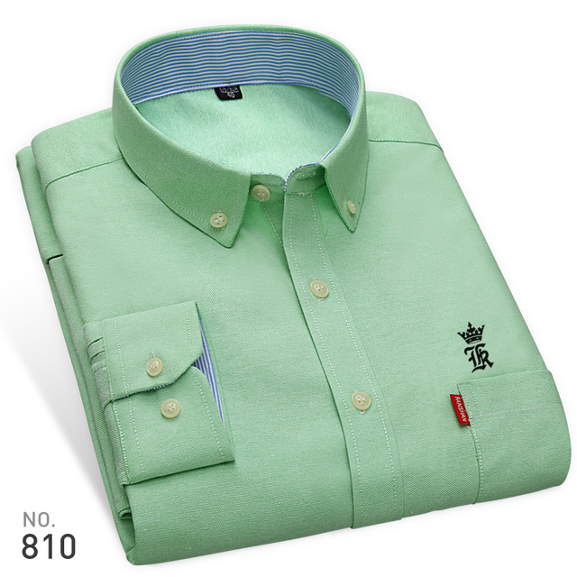 High Quality Sergio K New Arrived Oxford Mens Shirts Brand Embroidery Long Sleeve Solid Color Men Dress Shirts White Male Shirt 1