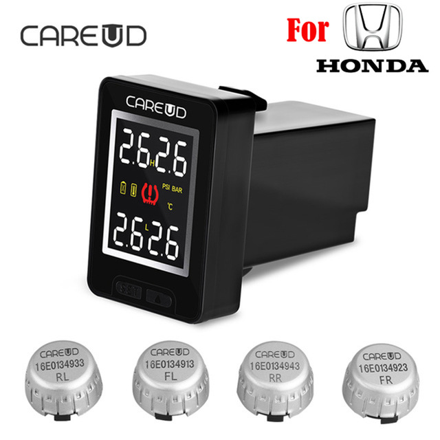 CAREUD U912 Car TPMS Auto Wireless Tire Pressure Monitoring System 4 External Sensors LCD Display Embedded