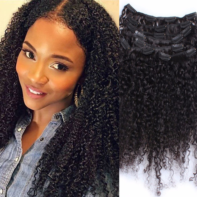 3b 3c Kinky Curly Clip In Human Hair Extensions 7pc Brazilian