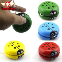 Hot 1Pcs 4 Colors Ladybird Ball Creative Toys Wooden Yoyo Toys For Children Baby Educational Hand