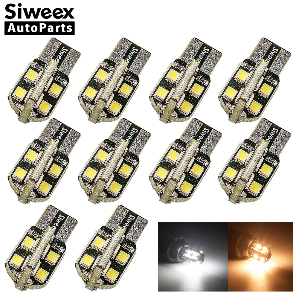 10 Pcs W5W 194 2825 T10 <font><b>16</b></font> <font><b>SMD</b></font> Lights 192 168 LED Car Dome Reading Side Marker Lamp Clearance Bulb White Warm 12V image