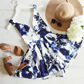 summer playsuit Women Romper jumpsuit backless printed floral blue bodysuit
