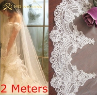 Real Photos 2015 2M White Ivory Beautiful Cathedral Length Lace Edge Wedding Bridal Veil With Comb