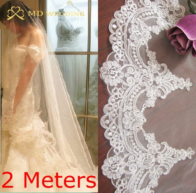 2M Real Photos 2017 White/Ivory Beautiful Cathedral Length Lace Edge Wedding Bridal Veil With Comb Wedding Accessories MD3074-2