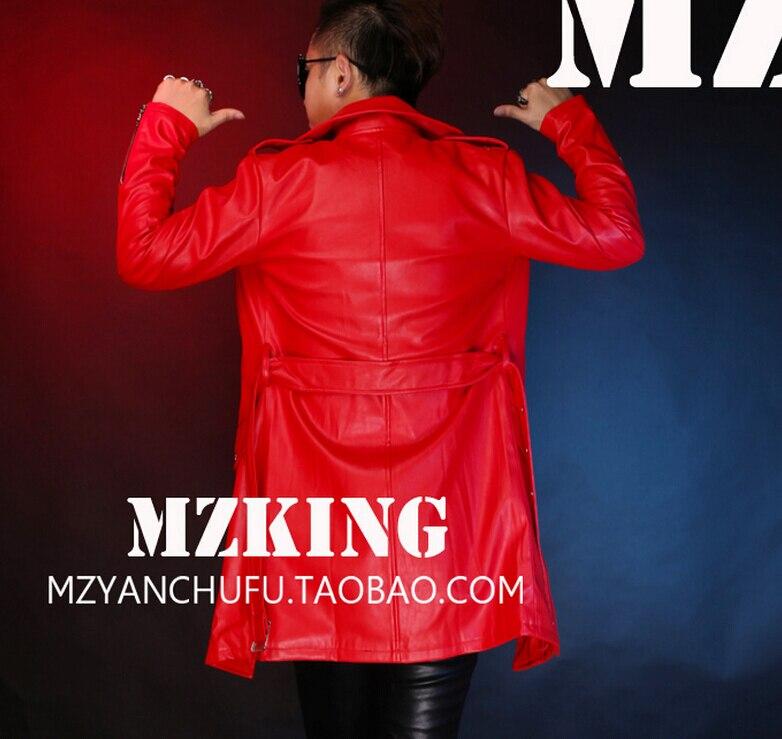 S-5XL! Hommes nouvelle mode DJ rouge longue Locomotive en cuir veste manteau chanteur costumes robe formelle grande taille vêtements - 6
