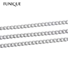 FUNIQUE 10M Silver Tone Stainless Steel Link-Opened Curb Chains Findings For DIY Necklace  Jewelry Findings 3x2mm