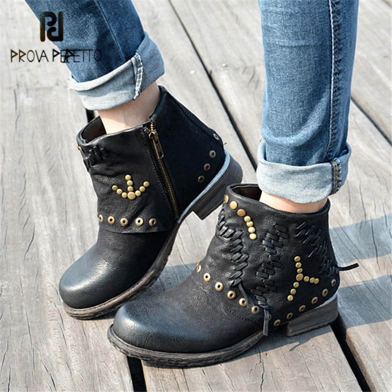 Prova Perfetto Black Anker Boots for Women Platform Short Booties Winter Genuine Leather Rivets Studded Rubber Shoes Woman prova perfetto black handmade women genuine leather mid calf boots buckle straps martin boots women platform rubber shoes woman