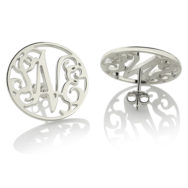 Silver Monogram Earrings Personalize Circle Stud Any 3 Initial Bridesmaid For Women